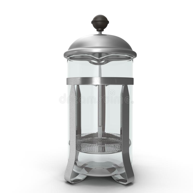 Empty French Press Coffee or Tea Maker isolated on white. 3D illustration. Empty French Press Coffee or Tea Maker isolated on white background. 3D illustration stock illustration