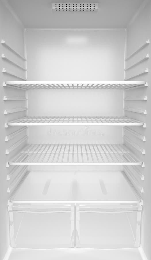 Empty fridge. Inside of an empty white fridge stock illustration