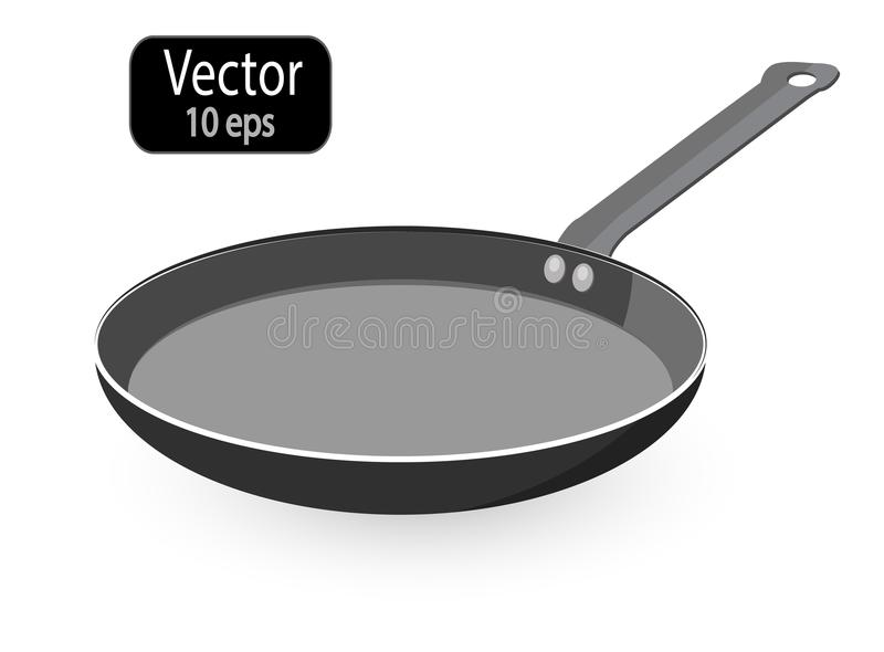 Empty frying pan isolated on a white background. Cooking Pot and Pan. Kitchen utensils for cooking food. Vector royalty free illustration