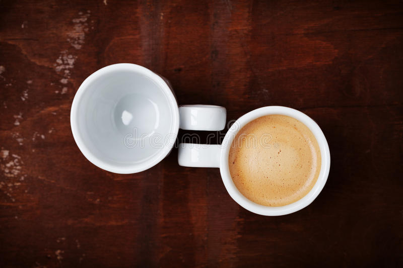 Empty Cup Top : Empty and full cup of fresh coffee on rustic wooden table