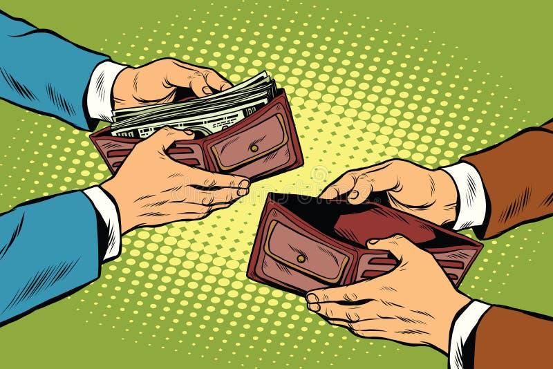 Empty and full money wallet. Pop art retro vector illustration stock illustration