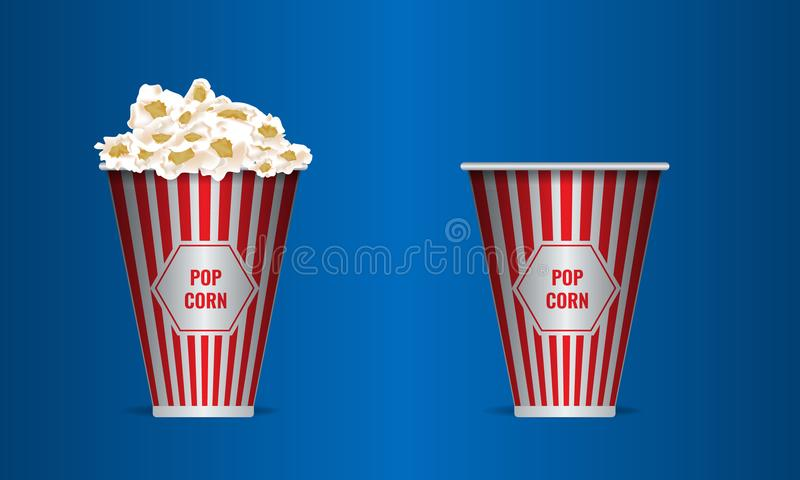 Empty and full Popcorn in a red striped bucket box. Realistic vector. royalty free illustration