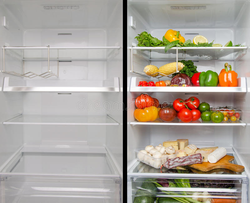 Empty and full refrigerator stock image