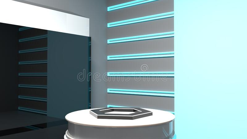 Empty futuristic scientific pedestal. stock illustration