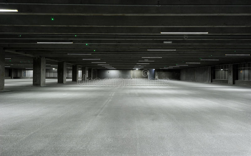 Empty garage stock image Image of expansive, gray