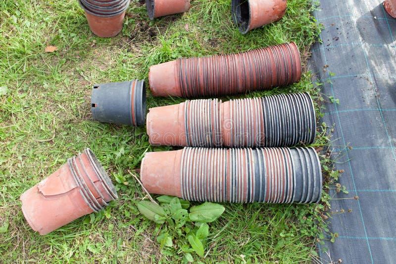 Empty garden pots royalty free stock photos