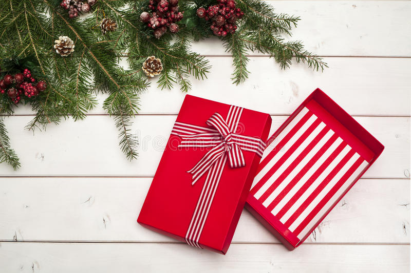 Empty gift box on wooden background. Empty gift box on the wooden background royalty free stock images