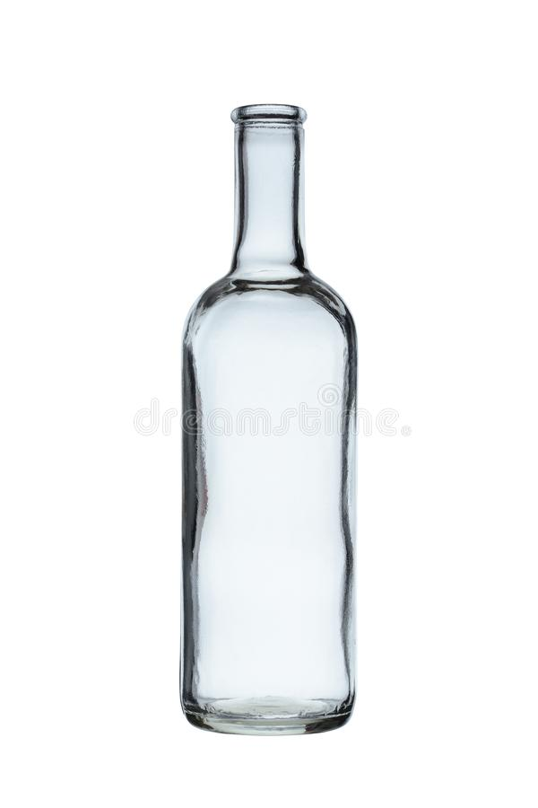 Empty glass bottle for alcoholic beverages without stopper isolated on a white background.  stock image