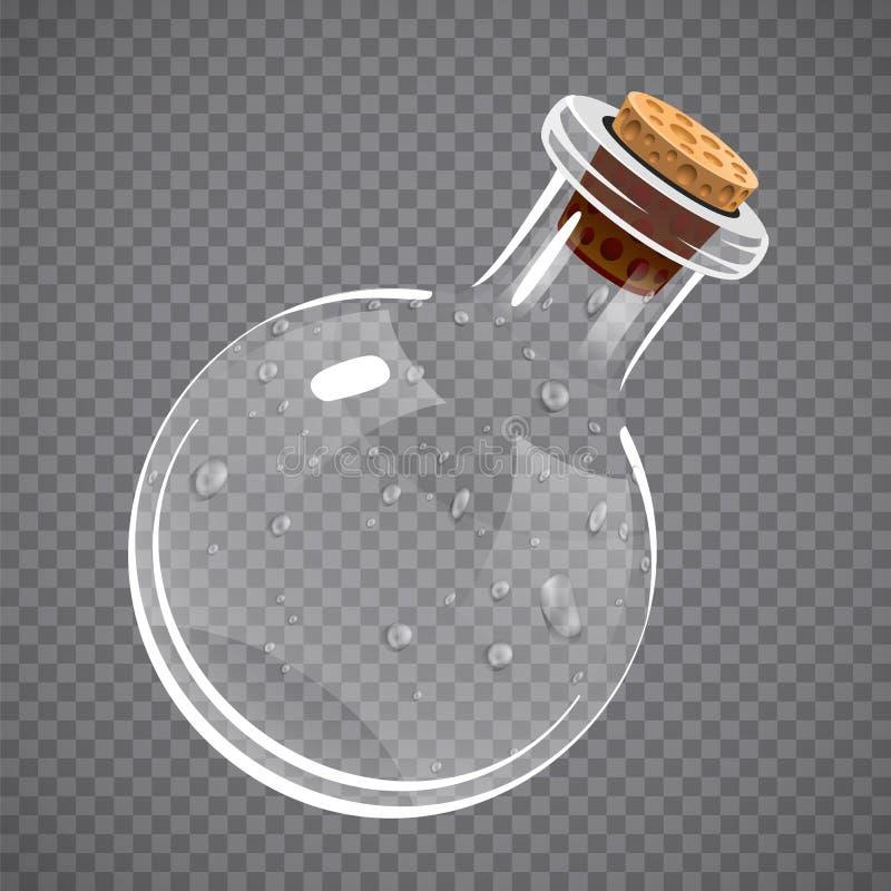 Free Empty Glass Bottle. Elixir, Potion Or Chemistry Concept. Full Transparent. Stock Photos - 90034413