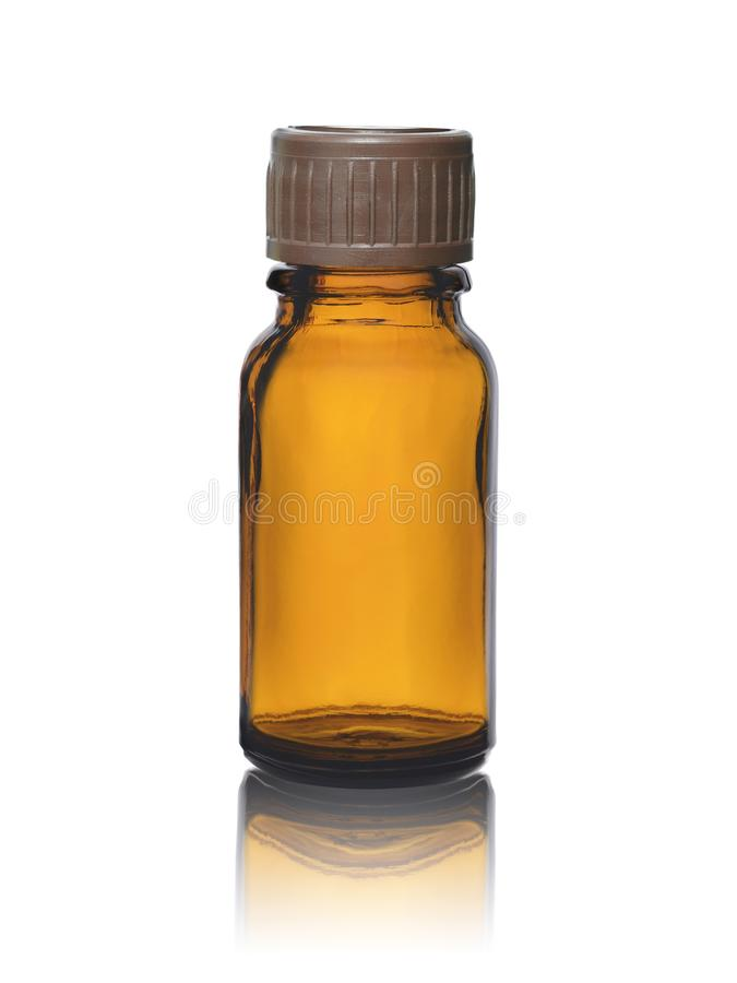 Empty glass bottle for medicines or drugs with a stopper isolated on a white background stock image