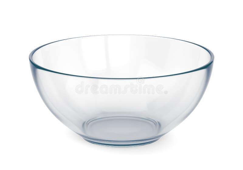 Empty glass bowl. Isolated on white background. 3D illustration stock illustration