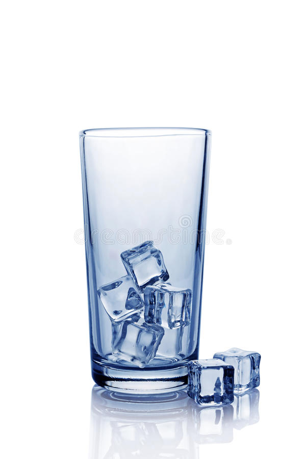 Empty glass for cola with ice cube royalty free stock photos