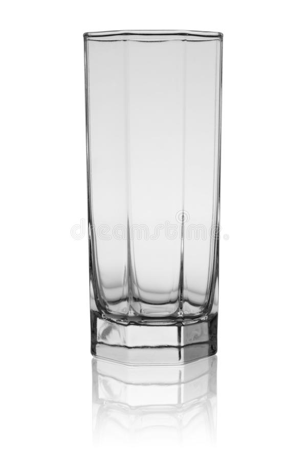 The empty glass for cold drinks with reflection isolated on a white background stock images