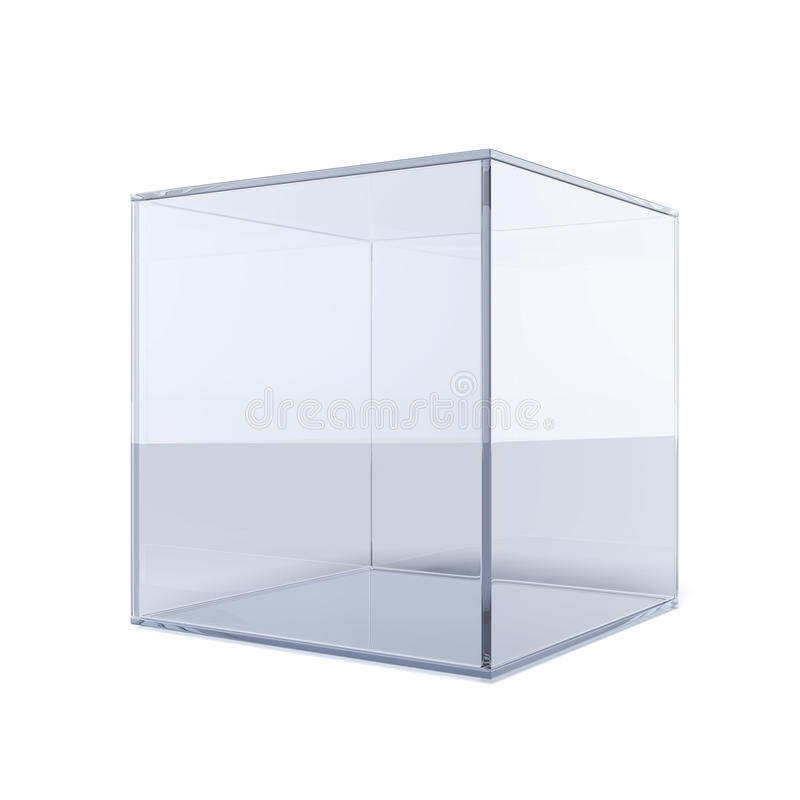 Empty glass cube. Isolated on a white background
