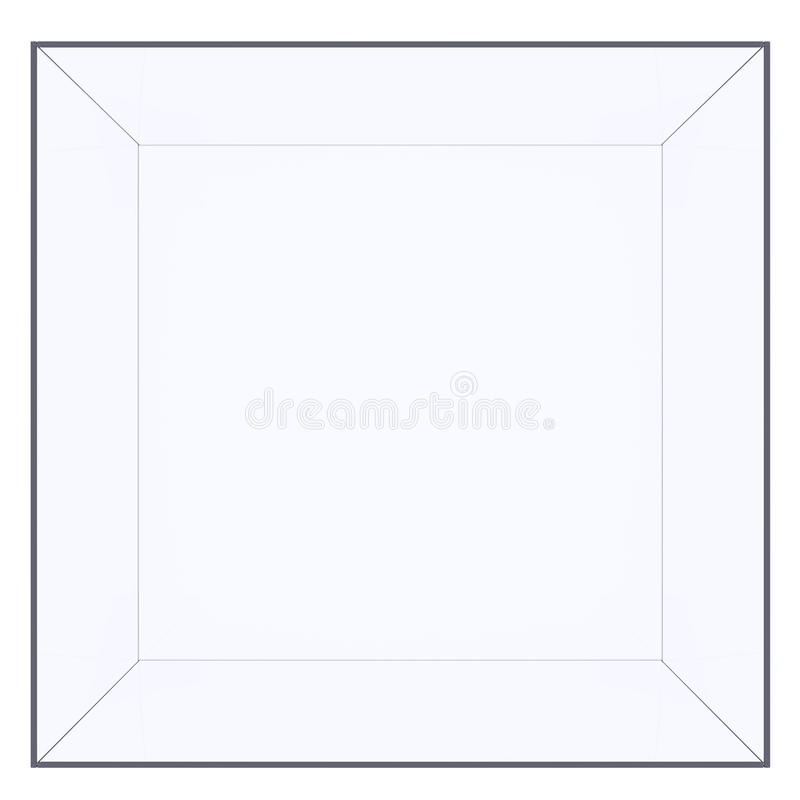 Empty glass cube. Isolated on white background. 3D rendering royalty free stock image