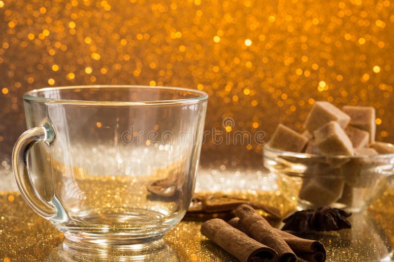 Empty glass cup of fresh hot tea. And cane sugar stock images