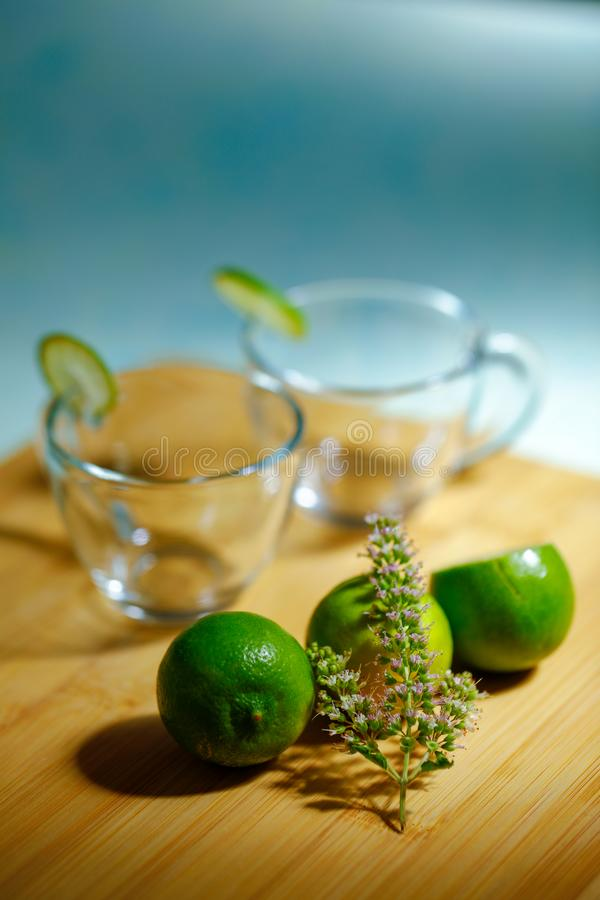 Empty glass cup with lemon royalty free stock image