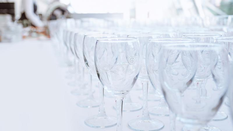 Empty glass glasses on the table in the restaurant stock images