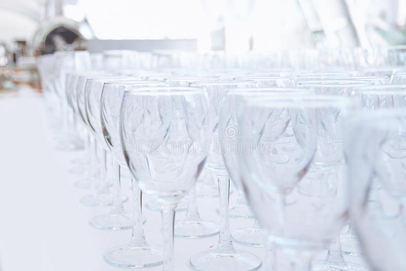Empty glass glasses on the table in the restaurant stock photos