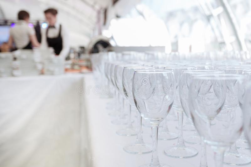 Empty glass glasses on the table in the restaurant royalty free stock photos