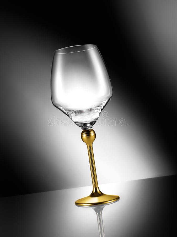 Download Empty Glass With Golden Stem Stock Photo - Image of still, reflection: 39500178