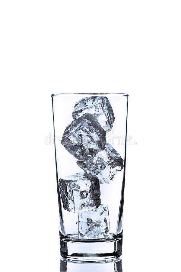 Empty Glass with ice Cubes stock image