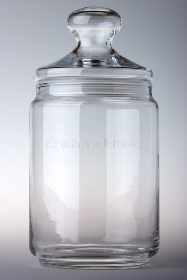 Empty glass jar stock photo