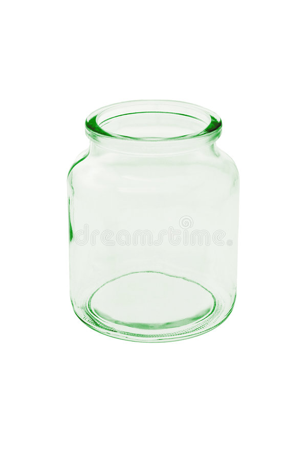 Empty glass jar. On white background royalty free stock photos