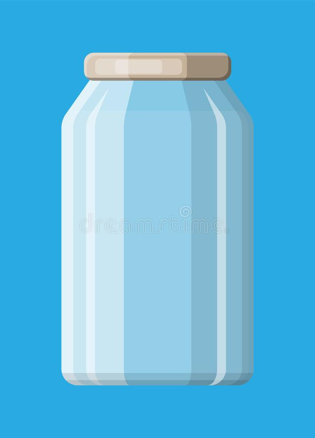 Empty glass jar for canning and preserving. Glass bottle with lid isolated on blue background. Plastic container for liquids. Vector illustration in flat style royalty free illustration