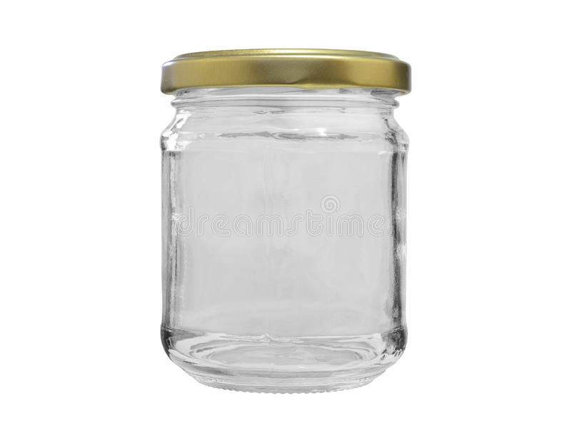 Empty glass jar closed with metal lid on white background stock photography