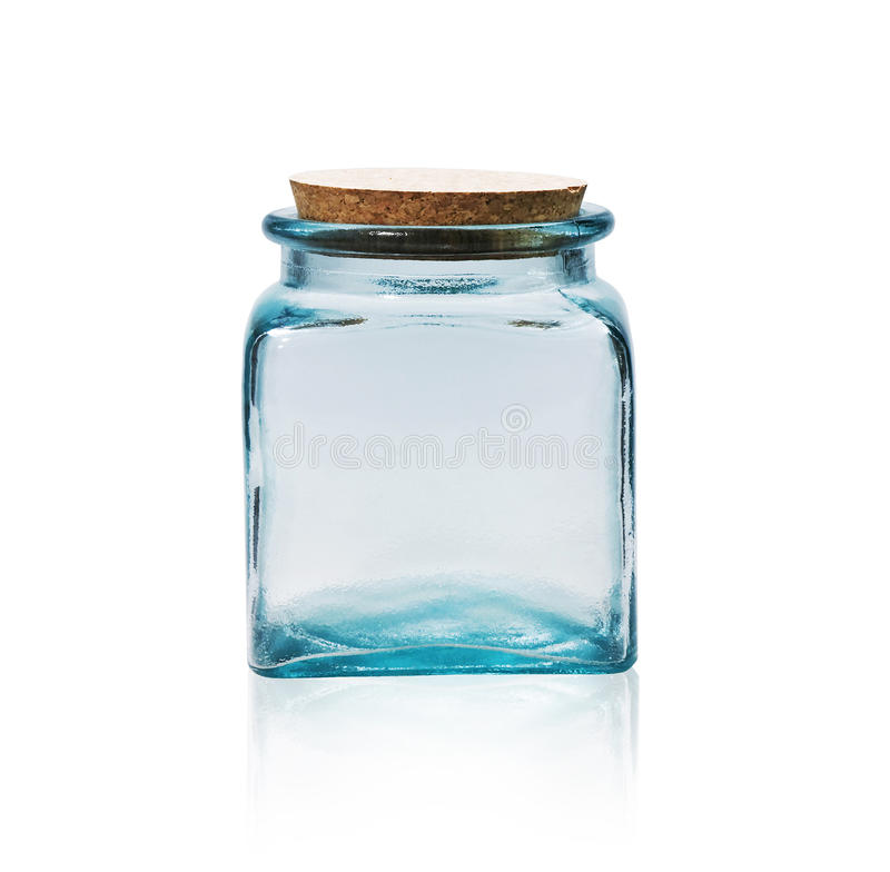 Empty glass jar with cork stopper. royalty free stock photo