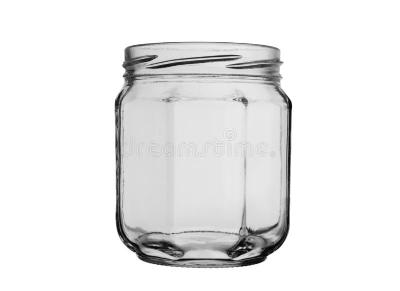 Empty glass jar without lid on white background stock image