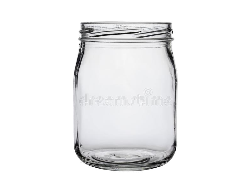 Empty glass jar without lid on white background close-up royalty free stock photo