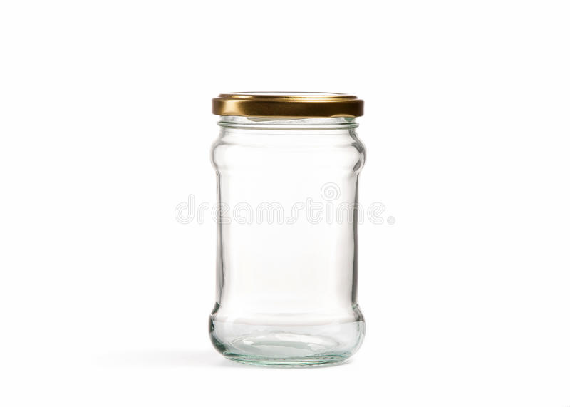 Empty glass jar over white stock photography