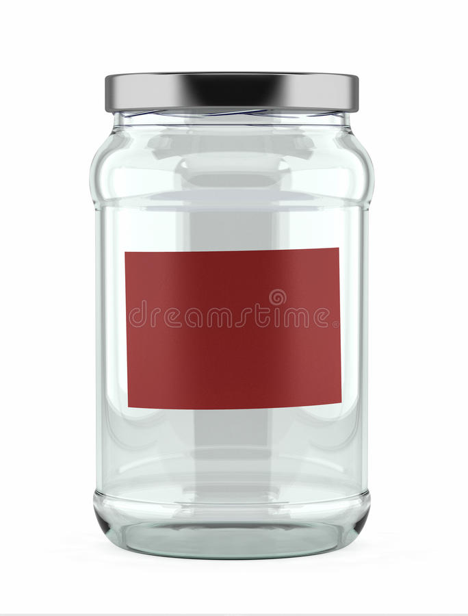 Empty Glass Jar With Red Label Stock Photography