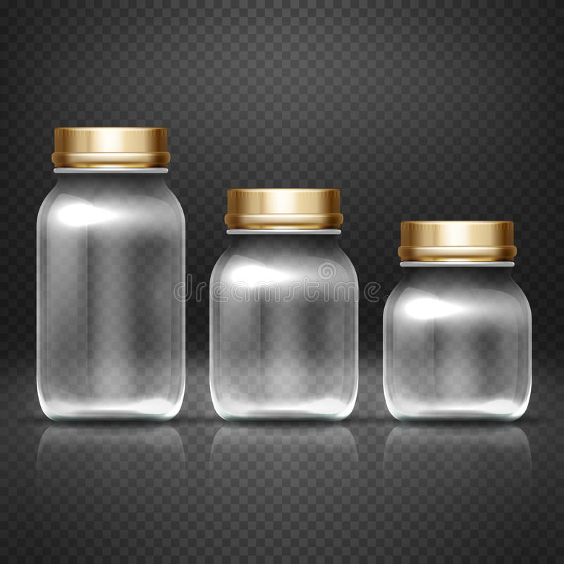 Empty glass jars with lods for grandma kitchen canning preserves vector set. Glass bottle for jam, illustration of empty bottle for conservation stock illustration