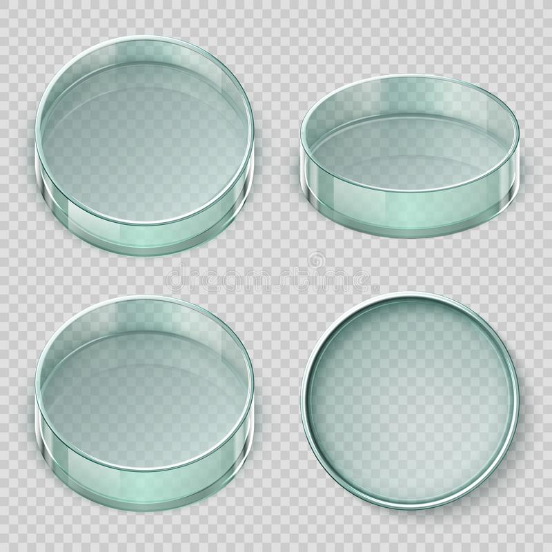 Empty glass petri dish. Biology lab dishes vector illustration isolated on transparent background. Lab glass for test, dish petri, medical glassware stock illustration