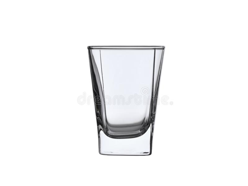 Empty glass pile for whiskey or vodka isolated on white background stock image