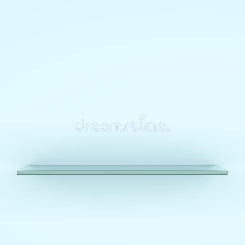 Empty glass shelf, isolated on white background vector illustration