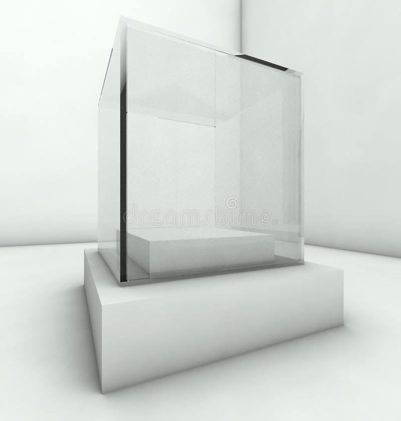 Empty glass showcase, 3d exhibition space stock illustration