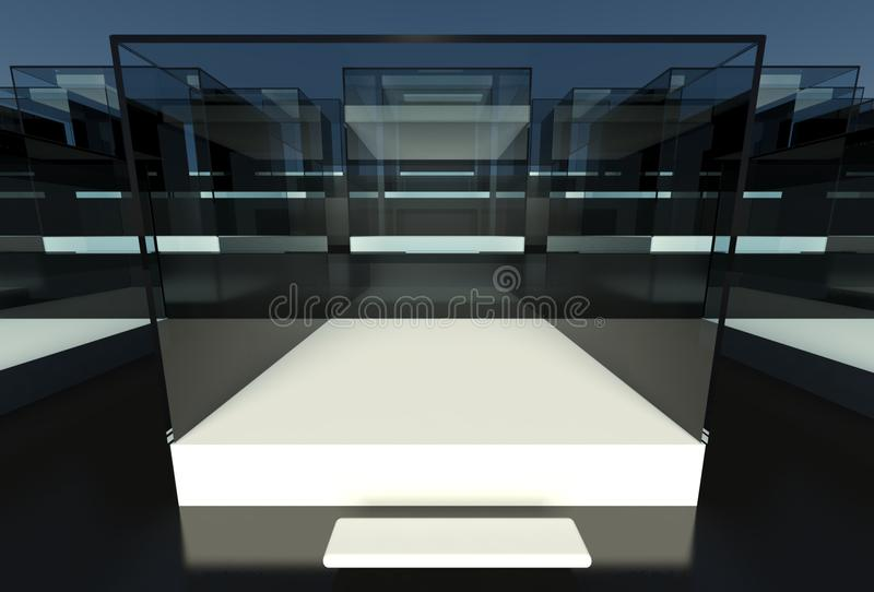 Download Empty Glass Showcase, 3d Exhibition Space Stock Illustration - Image: 24823522