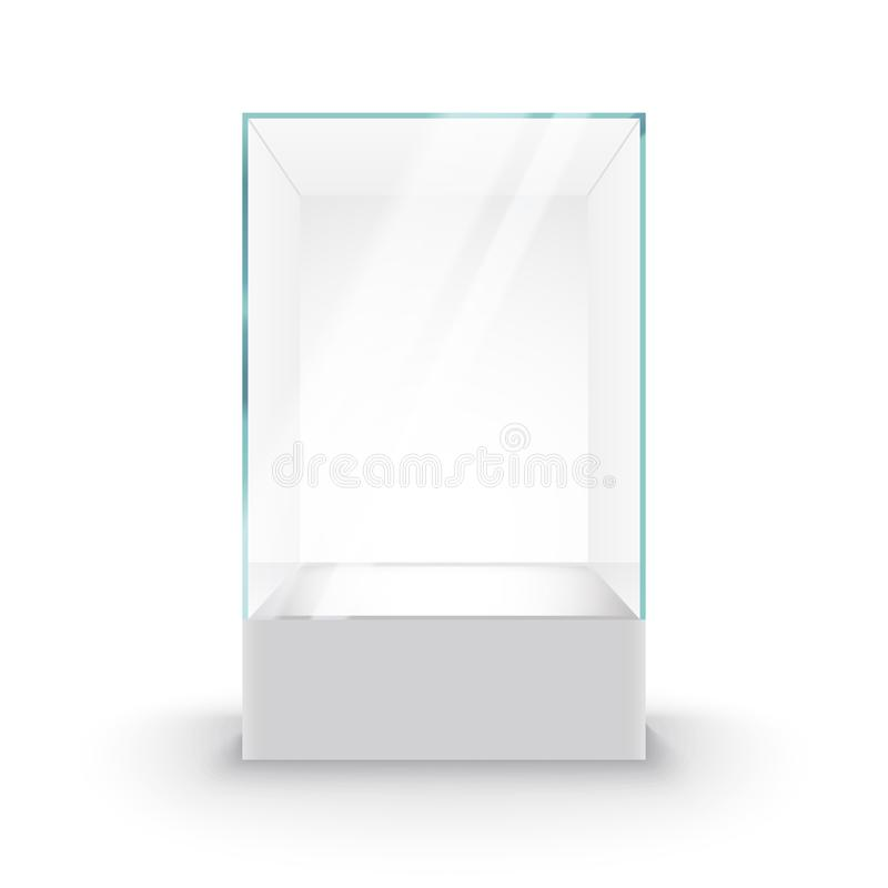 Empty Glass Showcase on pedestal. Museum glass box isolated advertising or business design boutique.  vector illustration