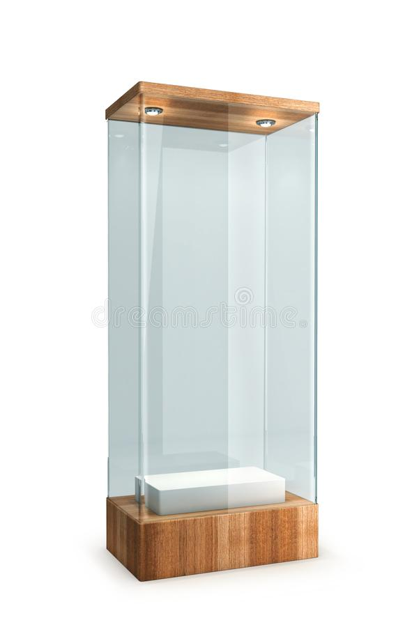 Empty glass showcase with wooden base. On a white background. 3d illustration vector illustration