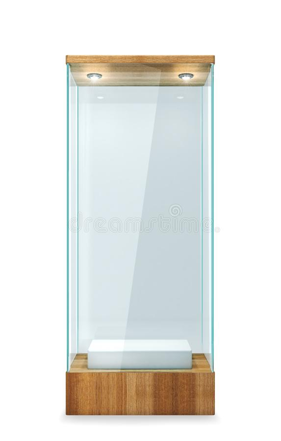 Empty glass showcase with wooden base. On a white background. 3d illustration royalty free illustration