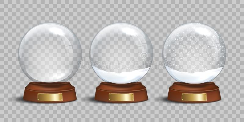 Empty glass snow globe and snow globes with snow on transparent background. Vector Christmas and New Year design vector illustration