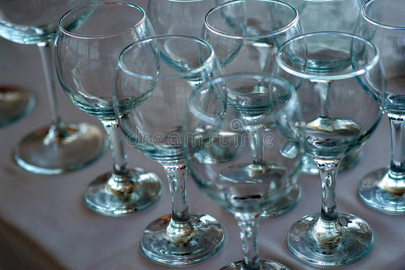 Empty glass transparent glasses on the table royalty free stock image