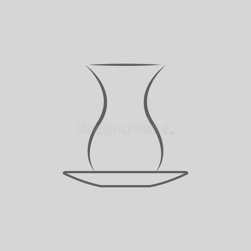 Empty glass for Turkish tea icon. Empty glass for Turkish tea vector icon royalty free illustration
