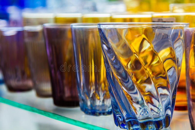 Empty glass of water used in the beverages. Glass of water cascaded into multiple containers that brought many popular home decorating stores or the collection stock images