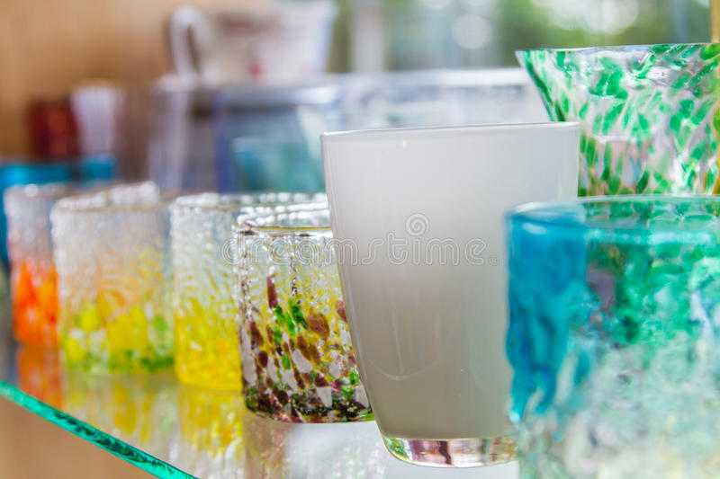 Empty glass of water used in the beverages. Glass of water cascaded into multiple containers that brought many popular home decorating stores or the collection royalty free stock photos