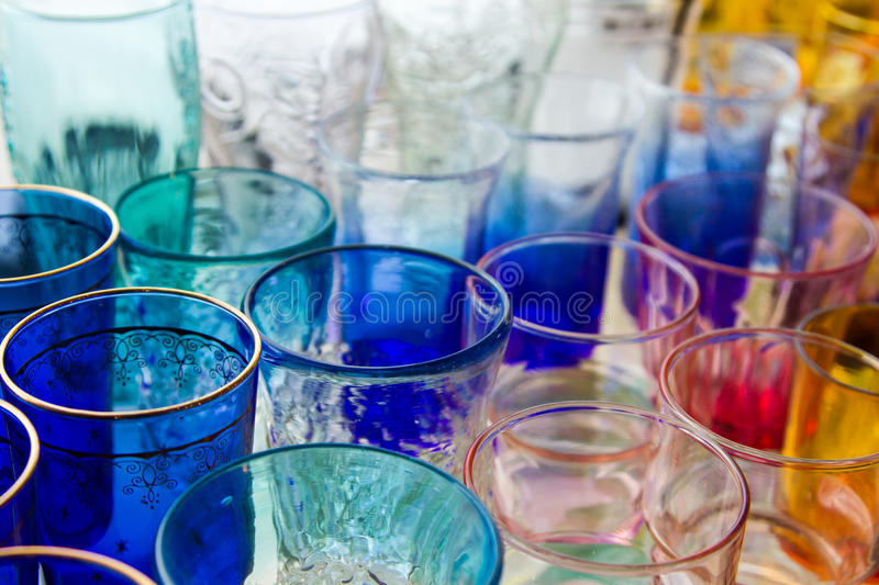 Empty glass of water used in the beverages. Glass of water cascaded into multiple containers that brought many popular home decorating stores or the collection stock photo